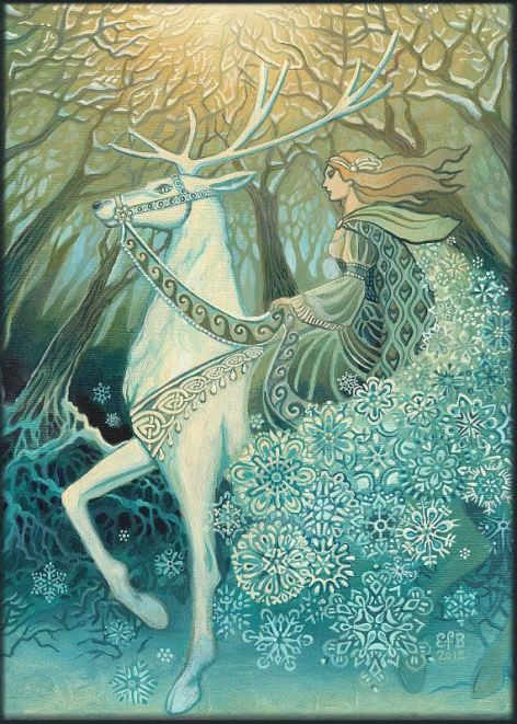 """There is also great wealth of sacred[/honored] & magical[/filled with wonder] imagery surrounding the female reindeer & deer in Celtic mythology which often feature tales of white hinds (doe) which are associated with the goddess (who often gives birth to a sun child in the form of a white hind). Fairytales tell us she was ridden by the Snow Queen & peoples of the fairy world."""