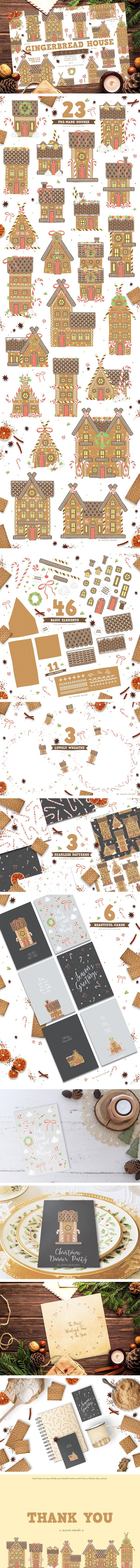gingerbread house creator wreath card seamless pattern pattern element christmas winter all previews resize on creative market. Lovely graphic pack kit DIY gingerbread
