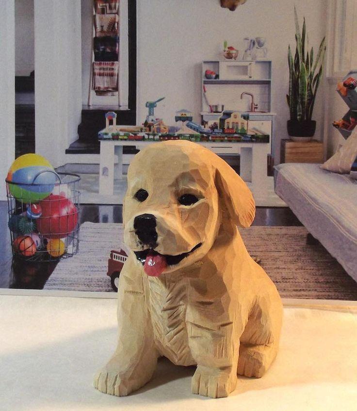Golden Retriever Puppy Wood Carving Art Sculpture Home Decor In 2020 Wood Carving Art Wood Carving Art Sculpture Wood Carving