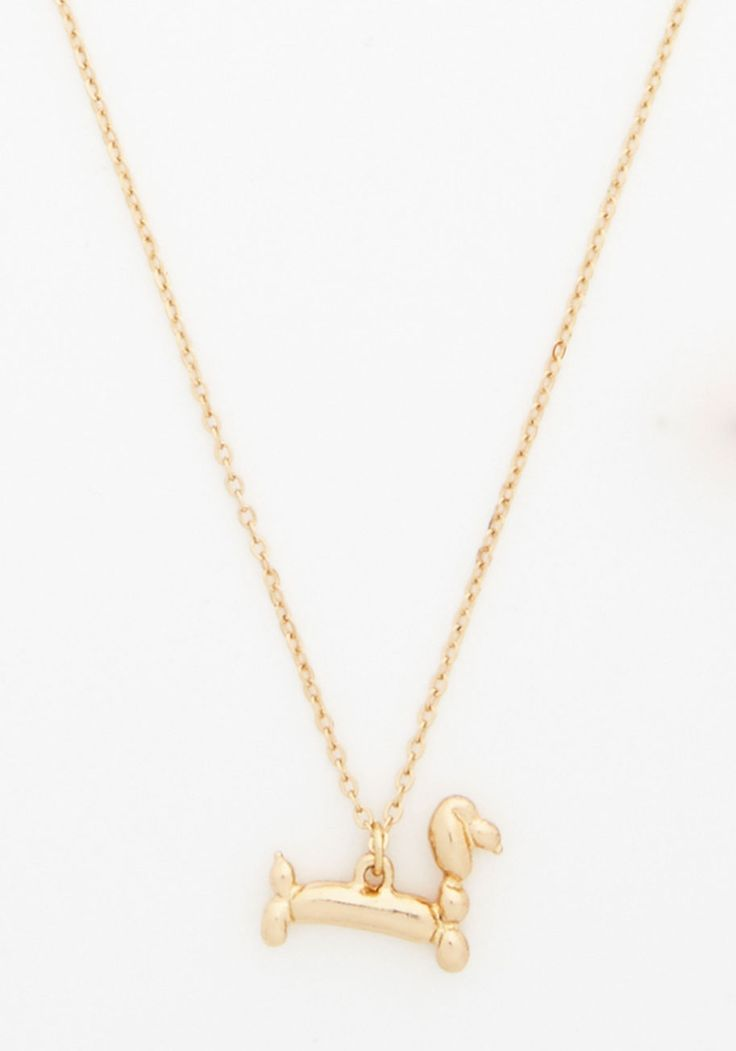Party Balloon Animal Necklace - Solid, Statement, Darling, Dog, Gold, Quirky