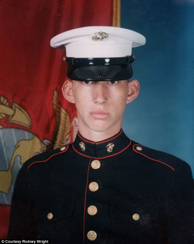 Adam Driver (Kylo Ren) wearing a crisp Marines uniform, posing for his official picture after joining in February 2002