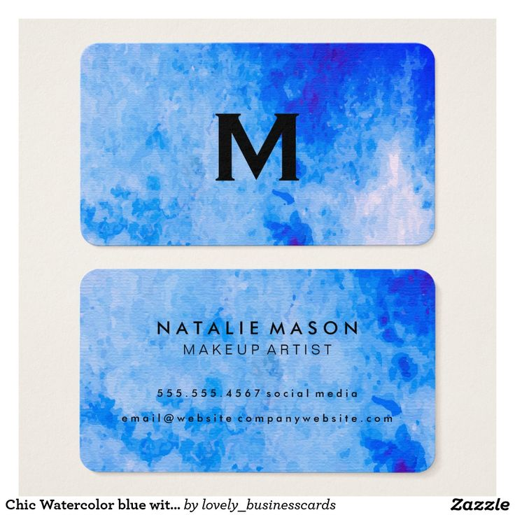 Chic Watercolor blue with Monogram Business Card