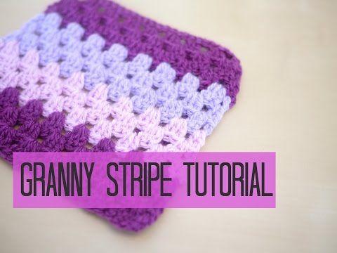 DIY Crochet Granny Stripe Stitch Free Pattern- Video