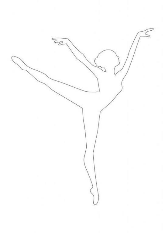 Картинка силуэт балерины раскраска