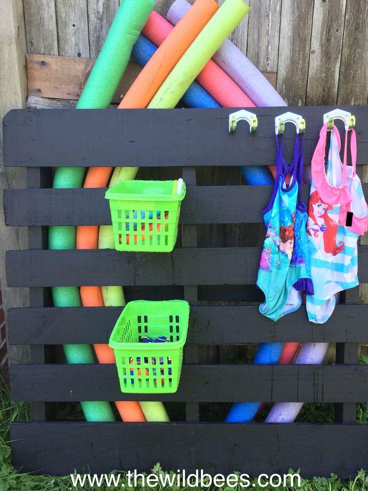 Diy Pool Toys Storage Painted Pallet Dollar Baskets And Hooks Bee Blake At