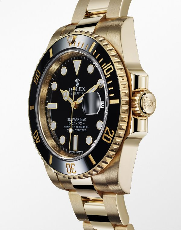The Rolex Submariner Date in 18 ct yellow gold with a rotatable graduated black ceramic bezel, black dial and Oyster bracelet.
