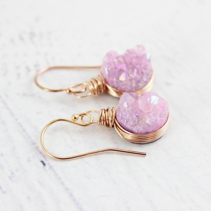 Pink Druzy Rose Gold Circle Earrings. | Earrings | Necklace | Jewelry | Gemstone Jewelry | #gemstone #druzy #gemstonejewelry #jewelry #handmadejewelry | www.starlettadesigns.com