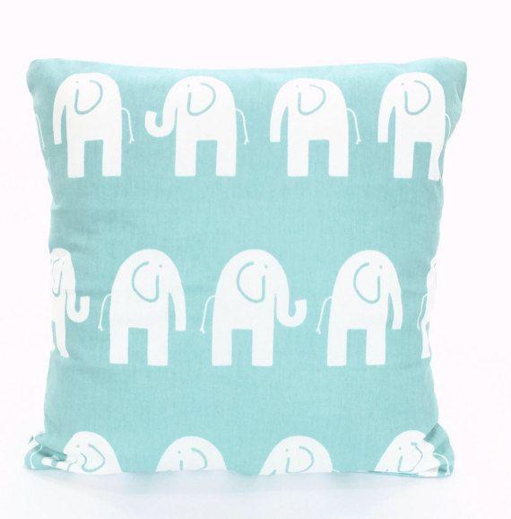 Aqua White Elephant Throw Pillow Covers Nursery Cushions, Pastel Aqua White Canal Elephant Baby Pillow Decorative Throw Pillow VARIOUS SIZES