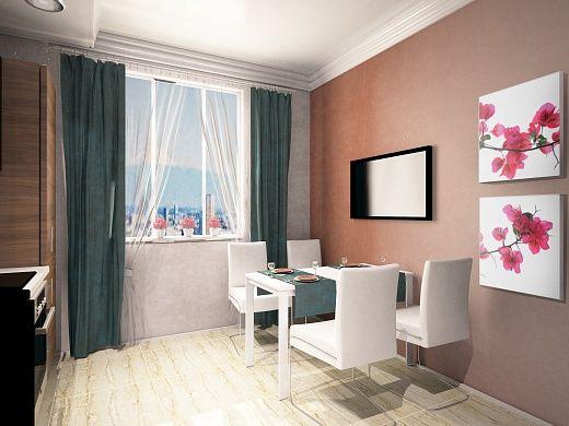 Стильный белый обеденный стол и белые стулья установлены у окна. Древесная гамма кухни разбавлена темно-бирюзовыми текстильными элементами, а именно — шторами и салфетками. На стене — комплект постеров «Бугенвиллия 3».
