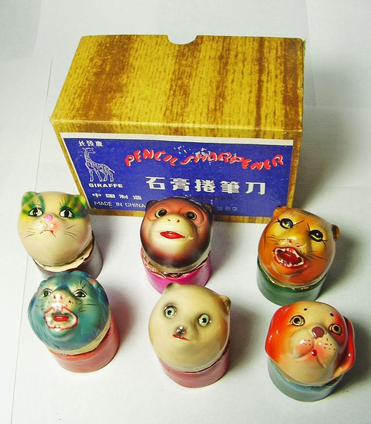 FOR SALE ! 6 animal squeakies VINTAGE Chinese CHALKWARE clay CERAMIC figural PENCIL SHARPENERS ! http://www.ebay.com/sch/mypinkturtle/m.html?_ipg=50&_sop=12&_rdc=1