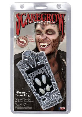 These scarecrow werewolf teeth are the perfect scary accessories to complete your Halloween costume. Add these fangs to your werewolf costume!