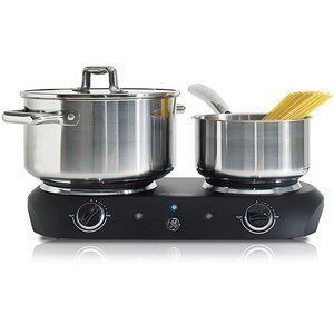 GE Dual Burner Hot Plate by GE. $39.99. A great alternative to traditional gas burners, the GE Dual Burner Hot Plate cuts down the time you spend in your kitchen. The fastest way to cook your favorite dishes, this induction hot plate features solid die-cast heating plates, so better and even cooking is guaranteed. With non-skid rubber feet, this 1500 watt hot plate will never move out of place. Get this portable electric hot plate and save more on your time and money.   GE 1500...