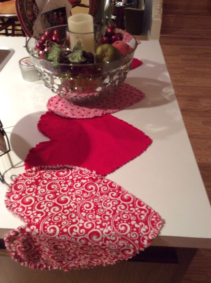 Rag Quilted Heart Table Runner Another Idea From Someone
