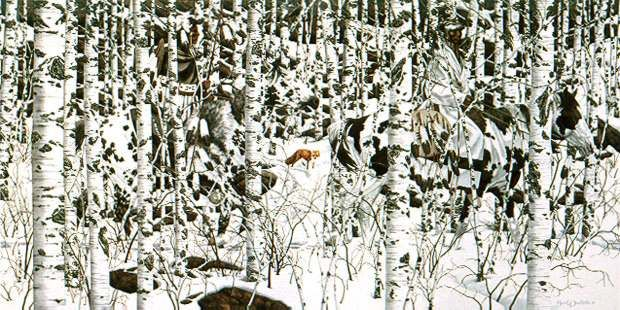 'Woodland Encounter' painting by Bev Doolittle;  you will need to enlarge this to see the Native Americans on pinto horses camouflaged in the birch trees
