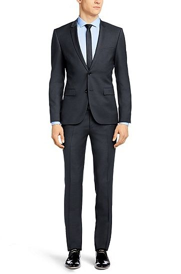 Extra-slim-fit suit 'Adris3/Heibo3' in new wool, Anthracite