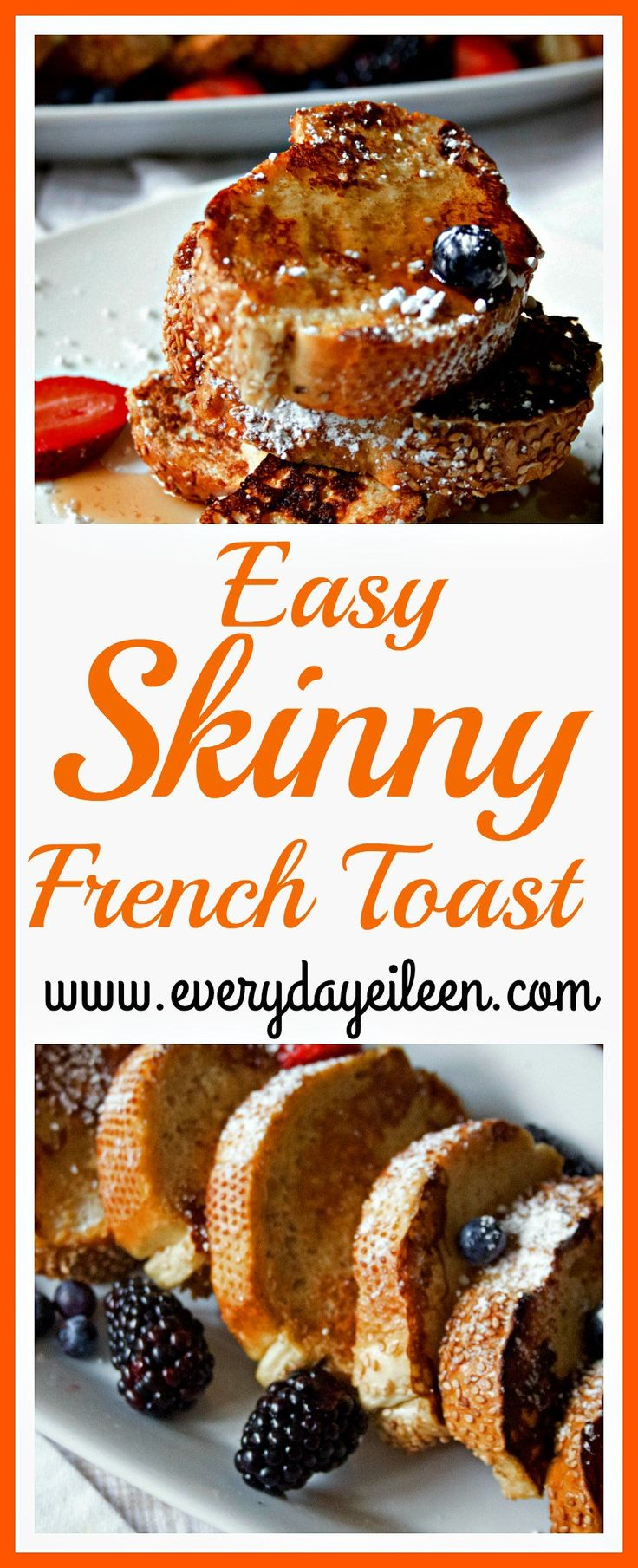 A delicious recipe for easy and skinny french toast.  Use low-fat millk, orange juice, vanilla and egg whites keeps calories down and the toast is full of  flavor. Perfect for any day! Great for a Holiday brunch. These are perfect to make ahead and they freeze really well