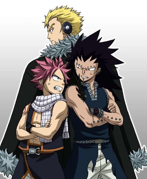 Season 1 Dragon Slayers - Laxus, Natsu, and Gajeel (even though Laxus never slayed a dragon, he's just been implanted with a lacrima)