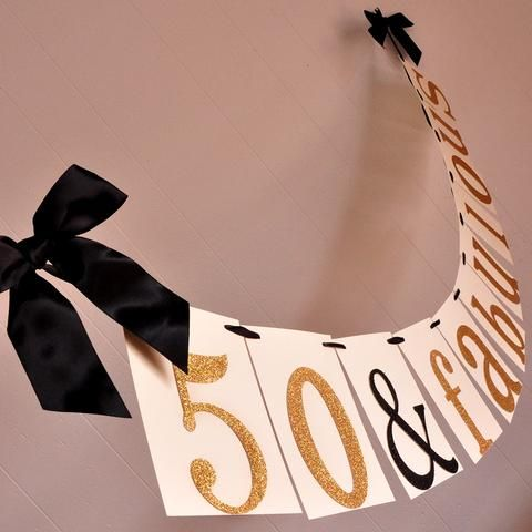 50th Birthday Decoration.  Ships in 1-3 Business Days.  50 & Fabulous Banner.