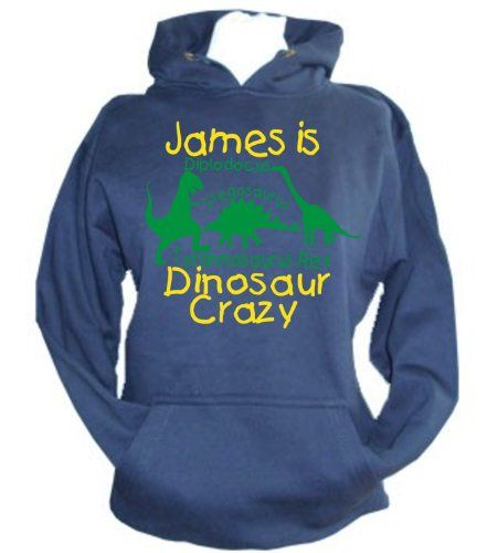 PERSONALISED Navy Hoodie 'DINOSAUR CRAZY' with Name With Green and Yellow Print.