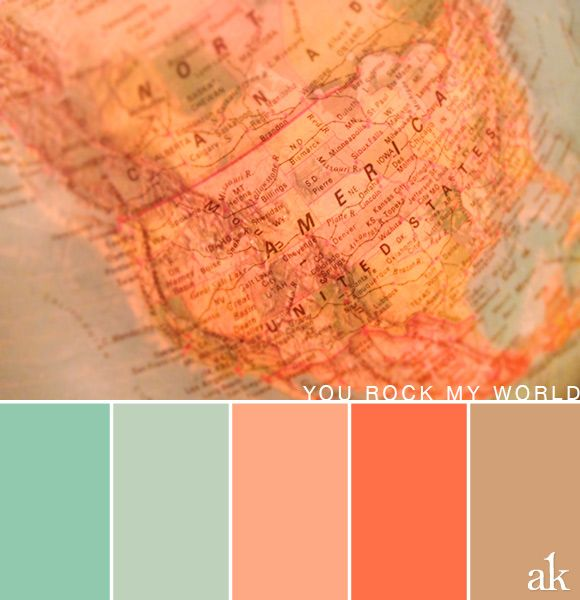 A globe inspired color palette pastels light teal - Peach color paint palette ...