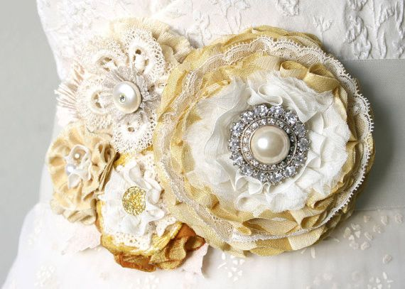 Bridal Sash with Vintage Pearl and Rhinestone Brooch - Light Yellow, Ivory