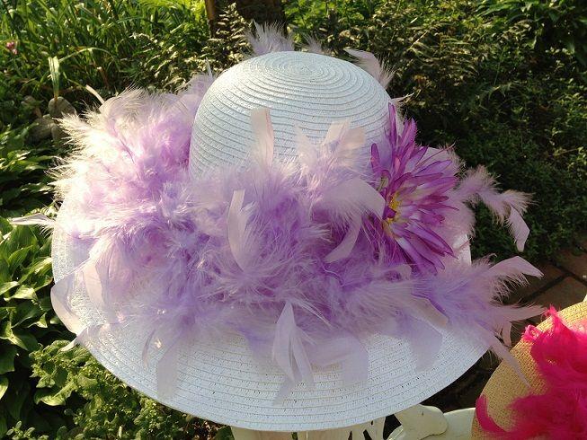 Ladies Tea Party Hats   Boa Tea Hat Lavender   Ladies Boa Hat   Tea Party Hats