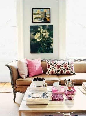 Madeline Weinrib Pink Sommers Suzani Pillow, as seen in Rita Konig's home #home #interior #design