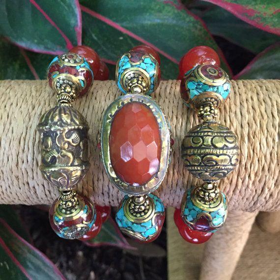 Smooth Carnelian AAA Gemstones Triple by JewelrybyKellyWalker