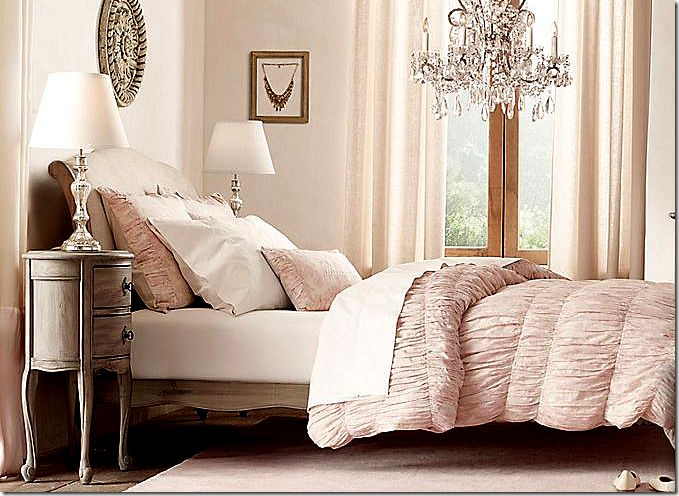Teen/guest room from Restoration Hardware line featured in Cote De Texas Blog.  Gorgeous chandelier!