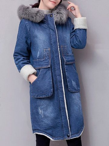 Casual Women Denim Thick Jackets