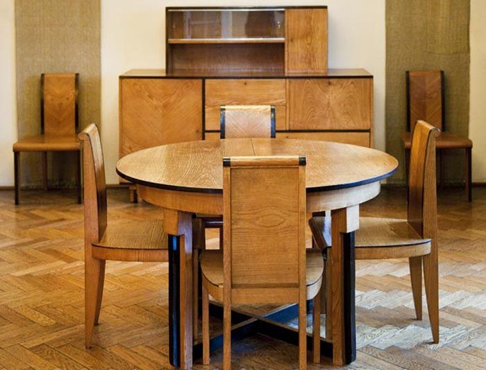 Marian Sigmund, dining room furniture set and a chair from the same ensemble, made by the Ład Artists' Cooperative, 1932, private collection...