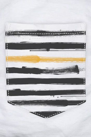 CAMISETA BOLSO BRANCO PAINTED STRIPES