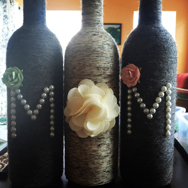 Yarn wrapped wine bottle for Mother's Day created by me