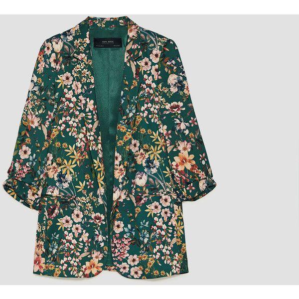 BEDRUCKTER BLAZER - BLAZER-DAMEN | ZARA Deutschland (71 095 LBP) ❤ liked on Polyvore featuring outerwear, jackets, blazers, blazer jacket, green blazer, green jacket and green blazer jacket