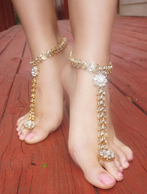 Jeweled Kundan Floral Barefoot Sandals Wedding Bride Bohemian Gypsy Sandals Bohemian Boho Grecian Bollywood Beach Wedding Vacation sandals