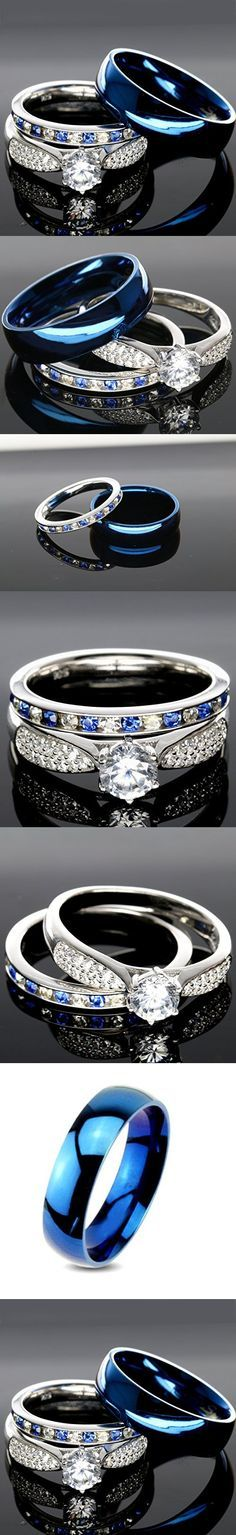 His and Hers 925 Sterling Silver Blue Saphire Stainless Steel Wedding Rings Set Blue #SP24BLMSBL (Size Men 7; Women 7)