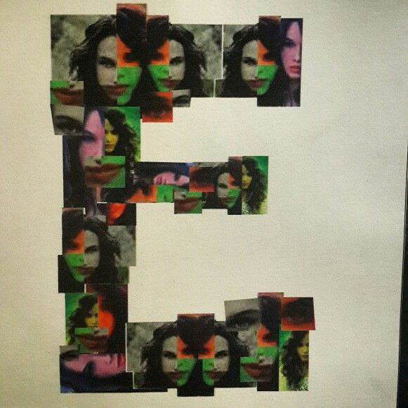 Typography letter with collage