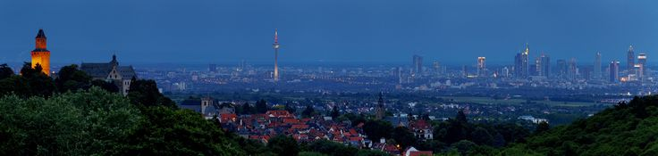 Frankfurt am Main as seen from the town of Kronberg im Taunus Germany [2048x487]. wallpaper/ background for iPad mini/ air/ 2 / pro/ laptop @dquocbuu