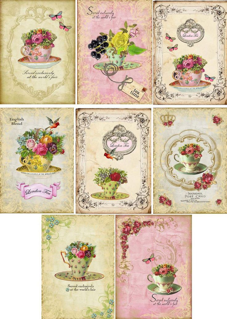 Vintage Tea Cup Stationery Cards Set 8 ATC Altered Are with Organza Bag | eBay