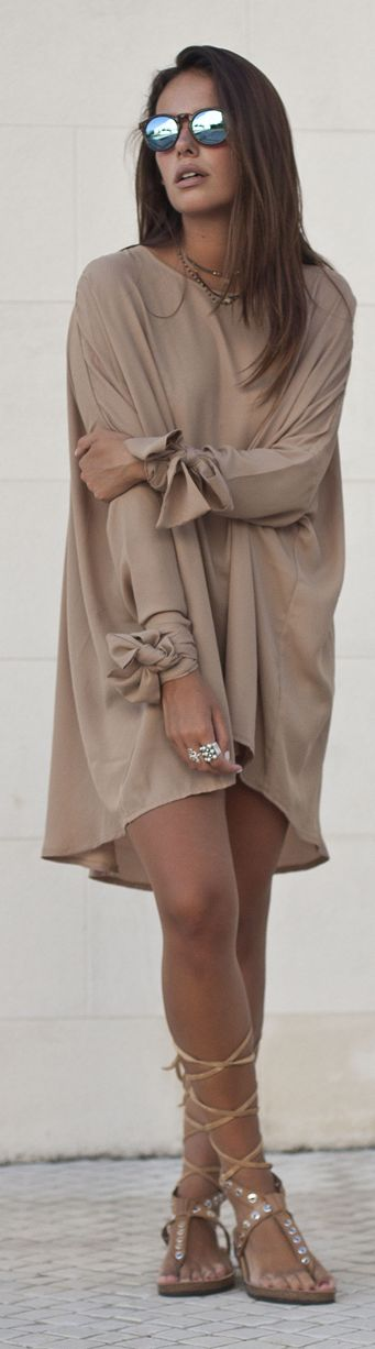 Street Style-Taupe Tied Sleeve Cuff Loose Tunic Dress- ~LaydLuxury~