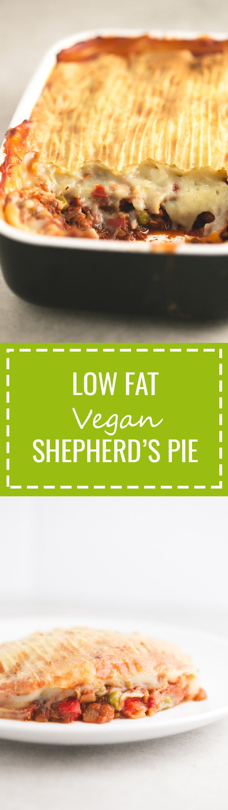 Low Fat Vegan Shepherd's Pie - You should give this vegan Shepherd's pie a try! It's a super healthy high carb, low fat recipe and is extremely delicious!