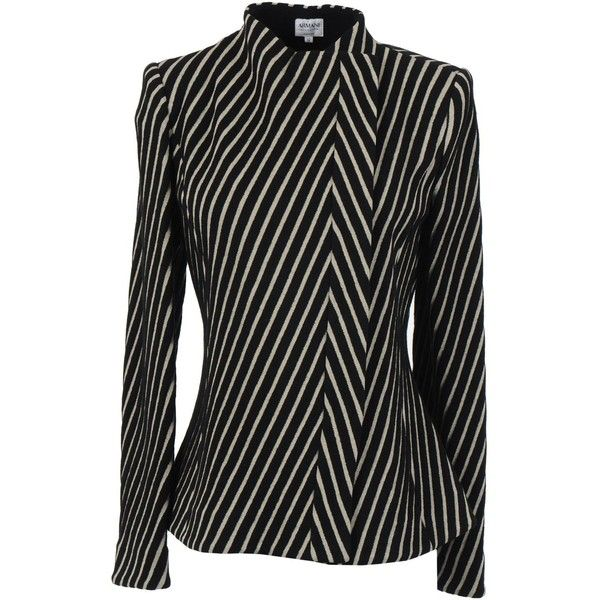 Armani Collezioni Blazer (4.915 VEF) ❤ liked on Polyvore featuring outerwear, jackets, blazers, black, black tweed blazer, stripe jacket, water proof jacket, black jacket and black striped jacket