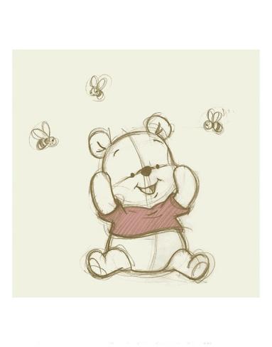 Pooh with Bees Print at Art.com