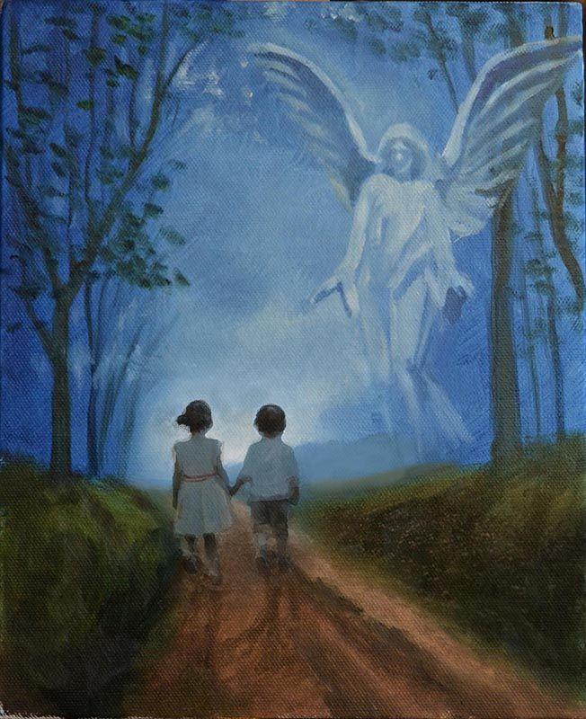 Peter Valve: Guardian angel, oil on canvas 22x27 cm, 2017.