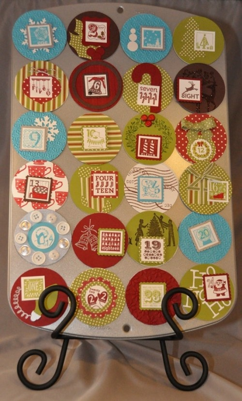 This muffin tin calendar hides little presents behind cardstock flaps