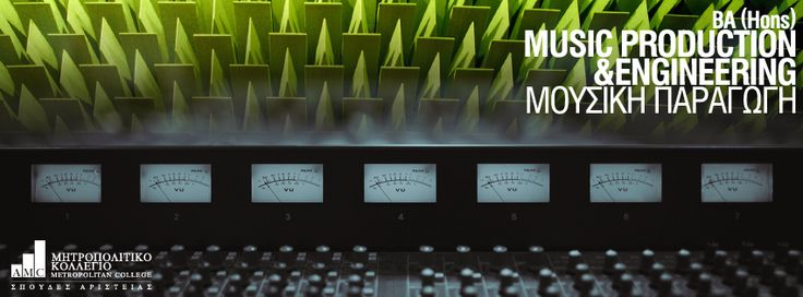 BA (Hons) Music Production & Engineering (Μουσική Παραγωγή) Το πρόγραμμα έχει σχεδιαστεί με στόχο να καλύπτει τις ανάγκες των μελλοντικών επαγγελματιών και τις συνεχώς αυξανόμενες απαιτήσεις της αγοράς. Η καινοτομία του προγράμματος έγκειται στον συνδυασμό της ακαδημαϊκής θεωρητικής διδασκαλίας με την ενσωμάτωση επαγγελματικών τεχνικών.  http://ow.ly/ttebR