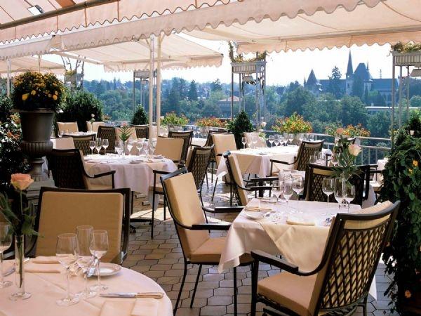View of Bern from La Terrasse Outdoor Terrace at the Bellevue Palace Hotel - Bern, Switzerland