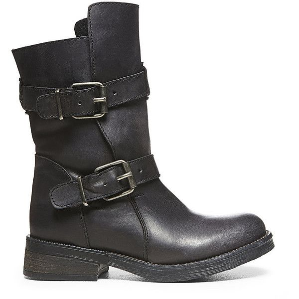 Steve Madden Women's Caveat Boots (535 ARS) ❤ liked on Polyvore featuring shoes, boots, black leather, mid-calf boots, combat boots, faux leather boots, army boots, leather combat boots and black buckle boots