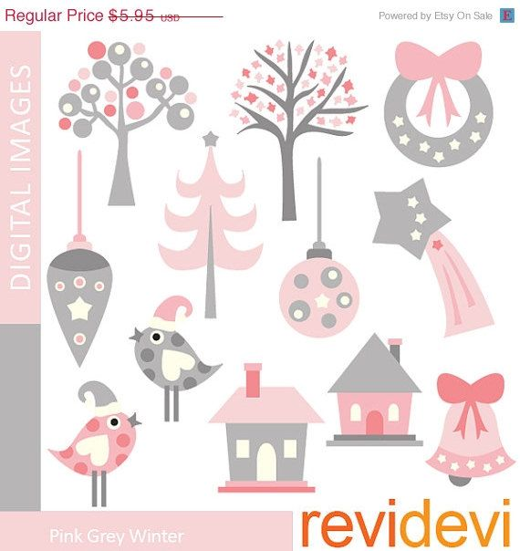 70 OFF SALE Clipart Pink Grey Winter 07366.. by revidevi on Etsy