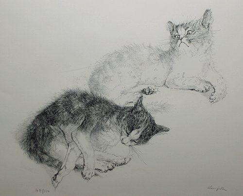 藤田嗣治・版画(リトグラフ)「二匹の猫」